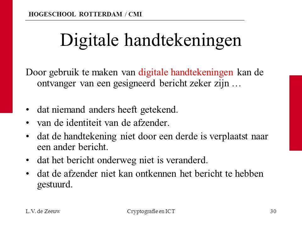 HOGESCHOOL ROTTERDAM / CMI Digitale handtekeningen Door gebruik te maken van digitale handtekeningen kan de ontvanger van een gesigneerd bericht zeker
