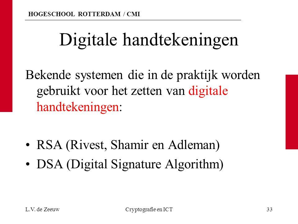 HOGESCHOOL ROTTERDAM / CMI Digitale handtekeningen Bekende systemen die in de praktijk worden gebruikt voor het zetten van digitale handtekeningen: RS