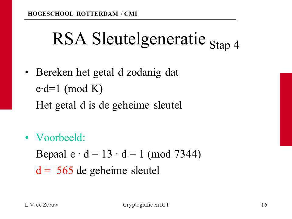 HOGESCHOOL ROTTERDAM / CMI RSA Sleutelgeneratie Stap 4 Bereken het getal d zodanig dat e·d=1 (mod K) Het getal d is de geheime sleutel Voorbeeld: Bepa