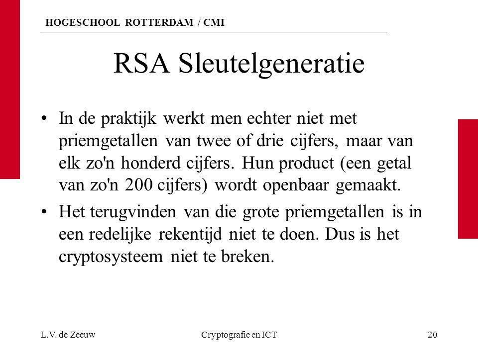 HOGESCHOOL ROTTERDAM / CMI RSA Sleutelgeneratie In de praktijk werkt men echter niet met priemgetallen van twee of drie cijfers, maar van elk zo'n hon