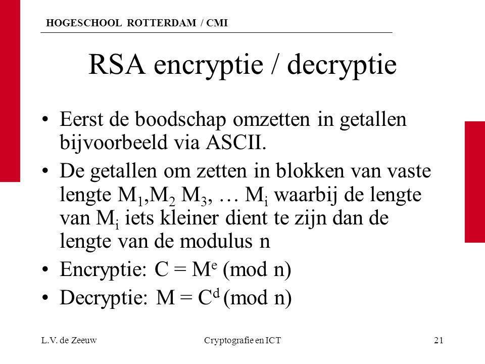 HOGESCHOOL ROTTERDAM / CMI RSA encryptie / decryptie Eerst de boodschap omzetten in getallen bijvoorbeeld via ASCII. De getallen om zetten in blokken