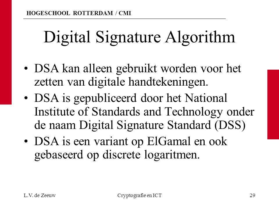 HOGESCHOOL ROTTERDAM / CMI Digital Signature Algorithm DSA kan alleen gebruikt worden voor het zetten van digitale handtekeningen. DSA is gepubliceerd