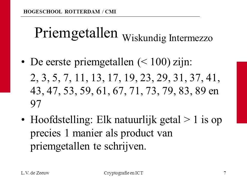 HOGESCHOOL ROTTERDAM / CMI Priemgetallen Wiskundig Intermezzo De eerste priemgetallen (< 100) zijn: 2, 3, 5, 7, 11, 13, 17, 19, 23, 29, 31, 37, 41, 43