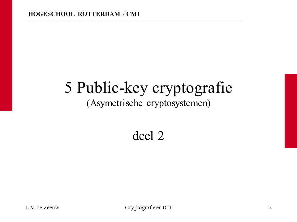 HOGESCHOOL ROTTERDAM / CMI 5 Public-key cryptografie (Asymetrische cryptosystemen) deel 2 L.V. de ZeeuwCryptografie en ICT2