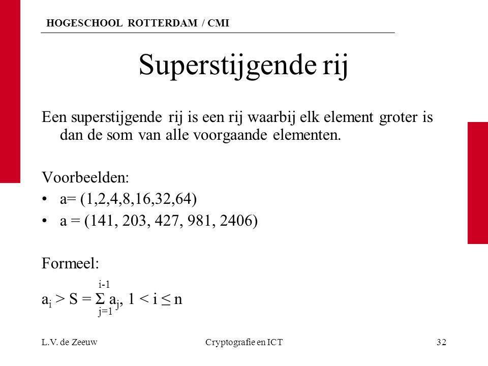 HOGESCHOOL ROTTERDAM / CMI Superstijgende rij Een superstijgende rij is een rij waarbij elk element groter is dan de som van alle voorgaande elementen