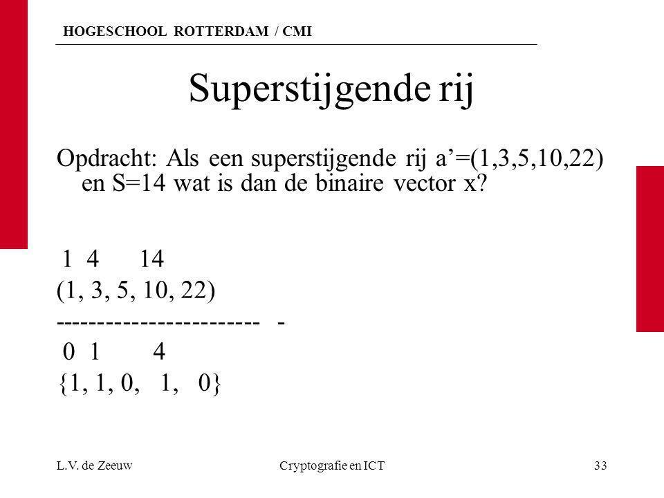 HOGESCHOOL ROTTERDAM / CMI Superstijgende rij Opdracht: Als een superstijgende rij a'=(1,3,5,10,22) en S=14 wat is dan de binaire vector x? L.V. de Ze