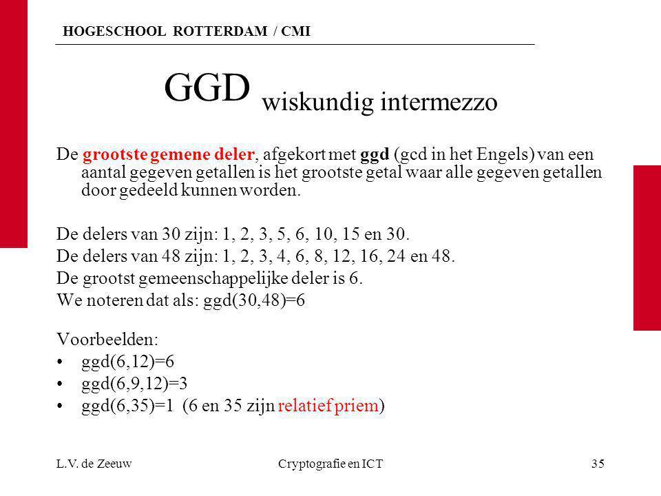 HOGESCHOOL ROTTERDAM / CMI GGD wiskundig intermezzo De grootste gemene deler, afgekort met ggd (gcd in het Engels) van een aantal gegeven getallen is