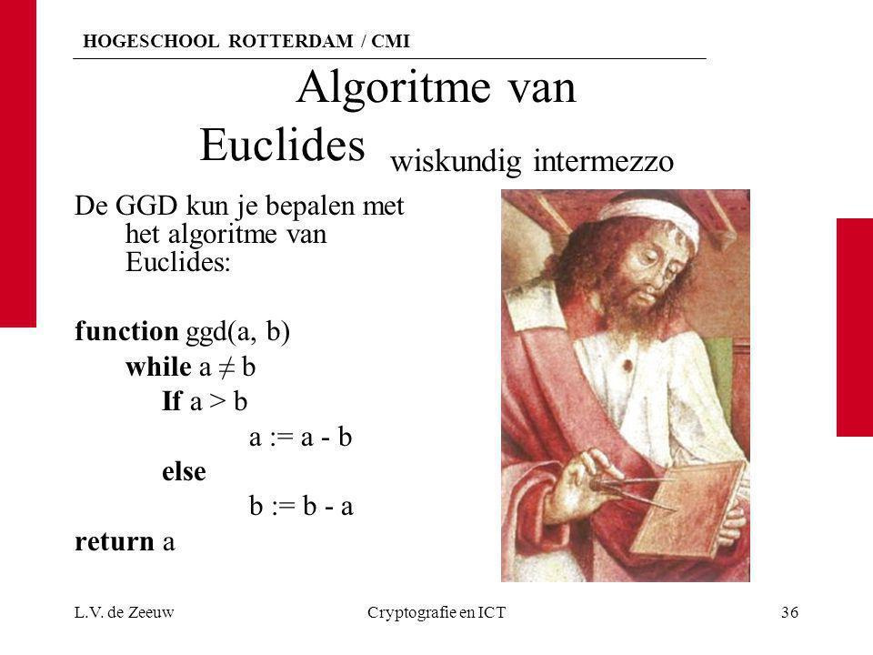 HOGESCHOOL ROTTERDAM / CMI Algoritme van Euclides wiskundig intermezzo De GGD kun je bepalen met het algoritme van Euclides: function ggd(a, b) while