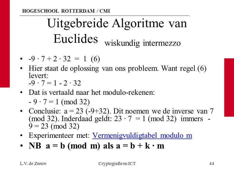 HOGESCHOOL ROTTERDAM / CMI Uitgebreide Algoritme van Euclides wiskundig intermezzo L.V. de ZeeuwCryptografie en ICT44 -9 · 7 + 2 · 32 = 1 (6) Hier sta