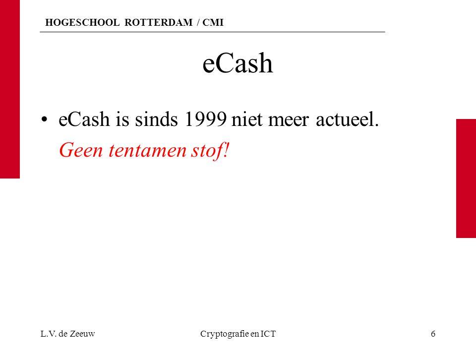 HOGESCHOOL ROTTERDAM / CMI eCash eCash is sinds 1999 niet meer actueel. Geen tentamen stof! L.V. de ZeeuwCryptografie en ICT6