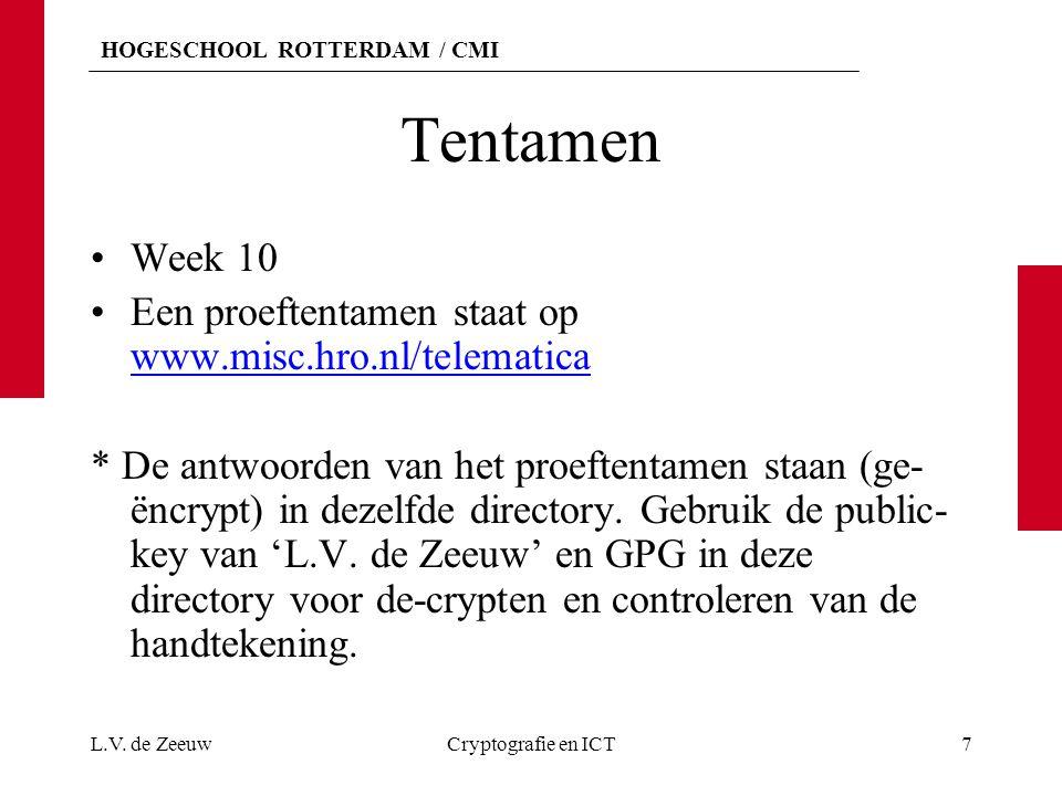 HOGESCHOOL ROTTERDAM / CMI Tentamen Week 10 Een proeftentamen staat op www.misc.hro.nl/telematica www.misc.hro.nl/telematica * De antwoorden van het p