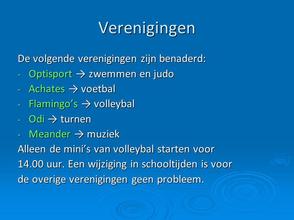 Verenigingen De volgende verenigingen zijn benaderd: - Optisport → zwemmen en judo - Achates → voetbal - Flamingo's → volleybal - Odi → turnen - Meand