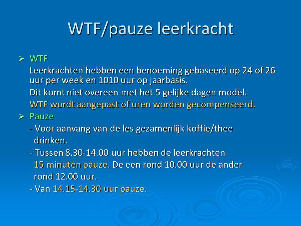 WTF/pauze leerkracht  WTF Leerkrachten hebben een benoeming gebaseerd op 24 of 26 uur per week en 1010 uur op jaarbasis. Dit komt niet overeen met he