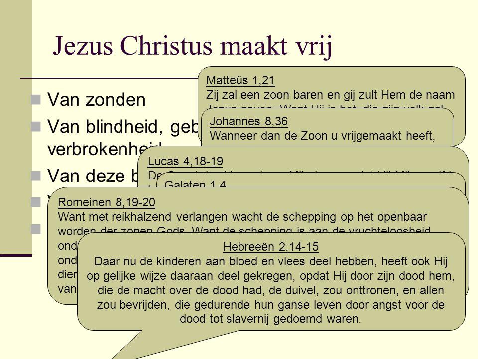 Jezus Christus maakt vrij Van zonden Van blindheid, gebondenheid, armoede, verbrokenheid Van deze boze wereld Van de vergankelijkheid Van de duivel en de angst voor de dood Matteüs 1,21 Zij zal een zoon baren en gij zult Hem de naam Jezus geven.