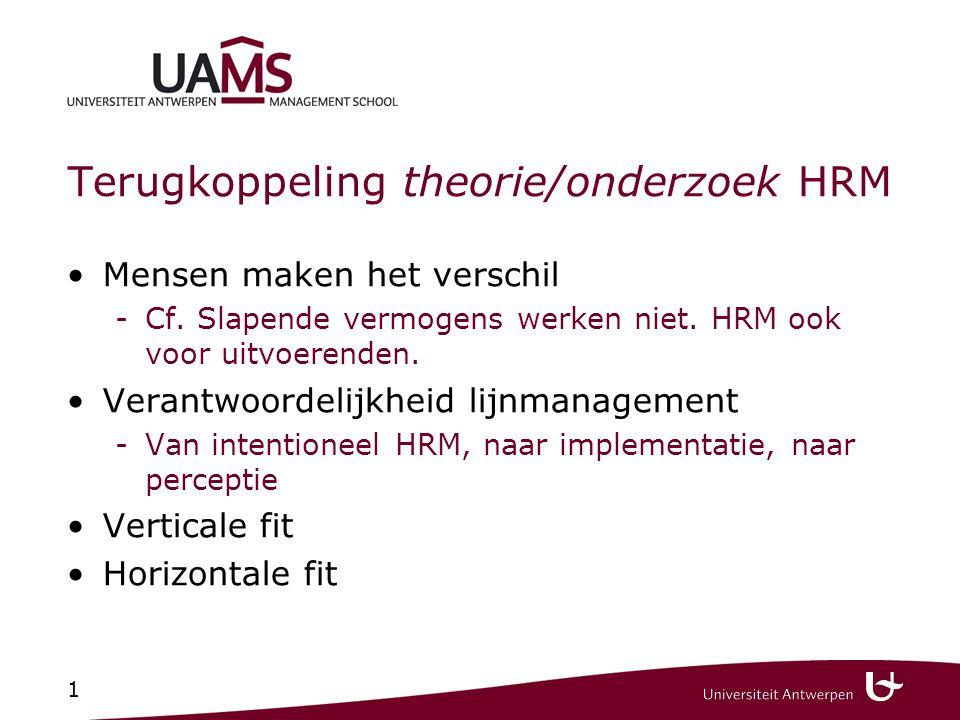 1 Terugkoppeling theorie/onderzoek HRM Mensen maken het verschil -Cf. Slapende vermogens werken niet. HRM ook voor uitvoerenden. Verantwoordelijkheid