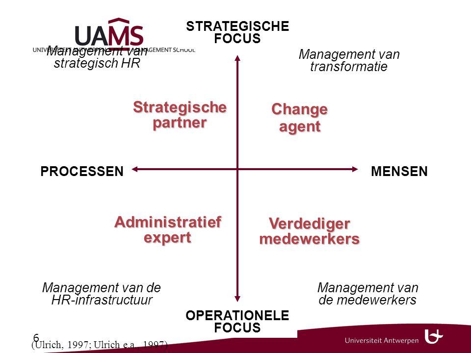 6 PROCESSENMENSEN STRATEGISCHE FOCUS OPERATIONELE FOCUS Management van strategisch HR Management van transformatie Management van de HR-infrastructuur