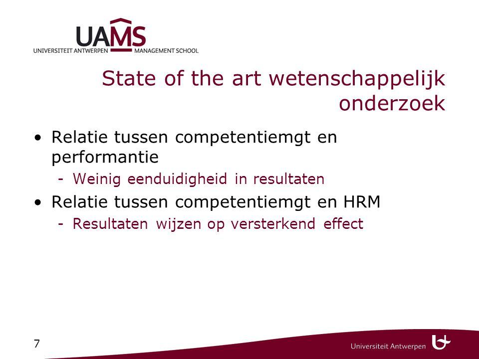 7 State of the art wetenschappelijk onderzoek Relatie tussen competentiemgt en performantie -Weinig eenduidigheid in resultaten Relatie tussen compete