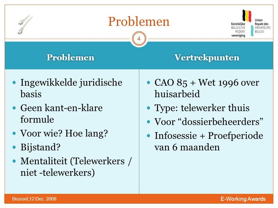 Problemen Vertrekpunten E-Working Awards Brussel,12 Dec.