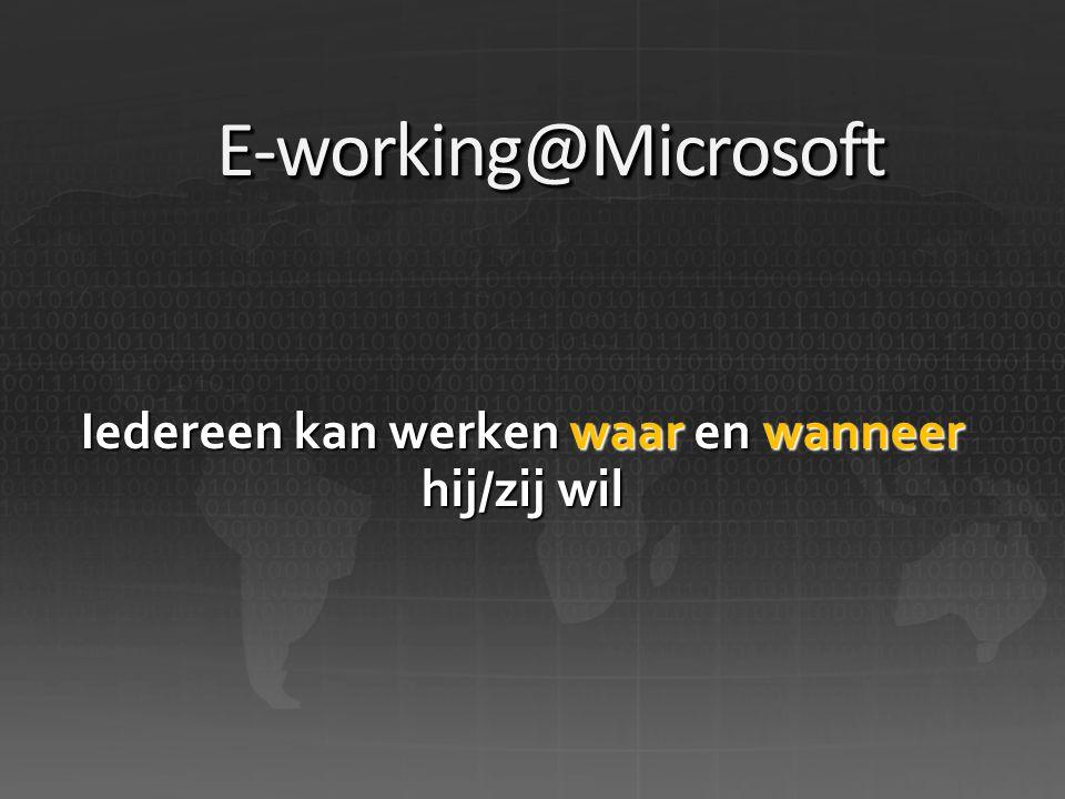 E-working@MicrosoftE-working@Microsoft Iedereen kan werken waar en wanneer hij/zij wil