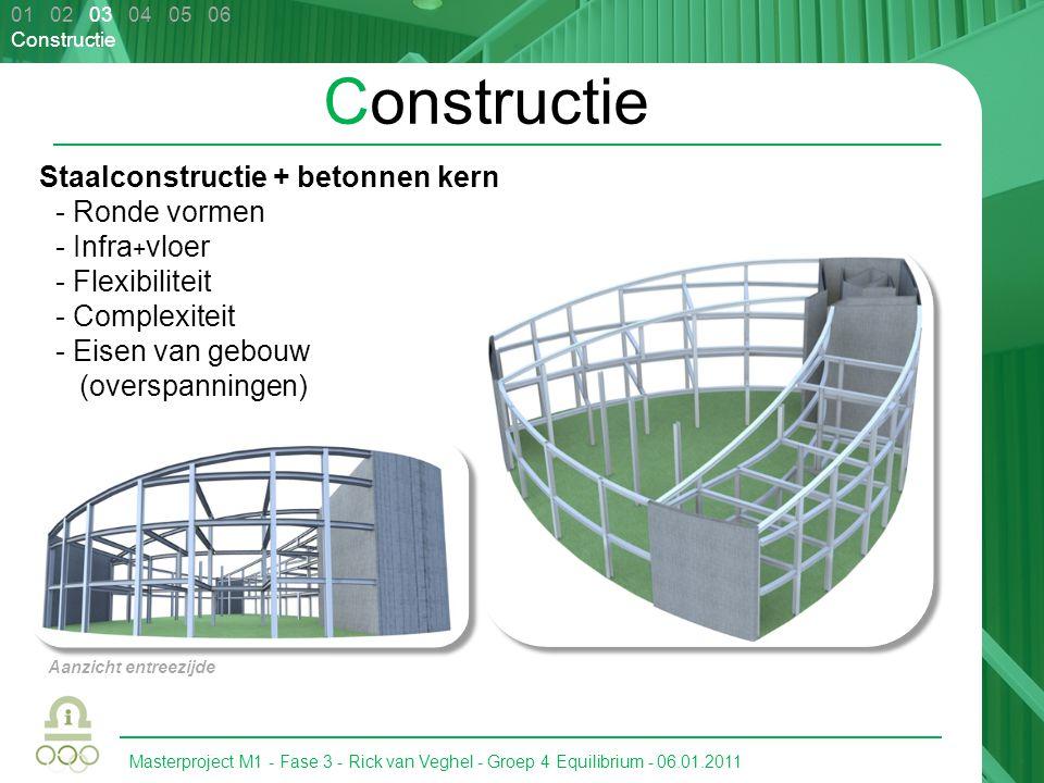 Masterproject M1 - Fase 3 - Rick van Veghel - Groep 4 Equilibrium - 06.01.2011 01 02 03 04 05 06 Constructie Staalconstructie + betonnen kern - Ronde