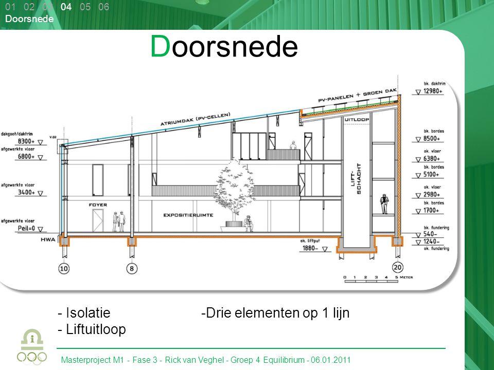 Masterproject M1 - Fase 3 - Rick van Veghel - Groep 4 Equilibrium - 06.01.2011 01 02 03 04 05 06 Doorsnede - Isolatie - Liftuitloop -Drie elementen op