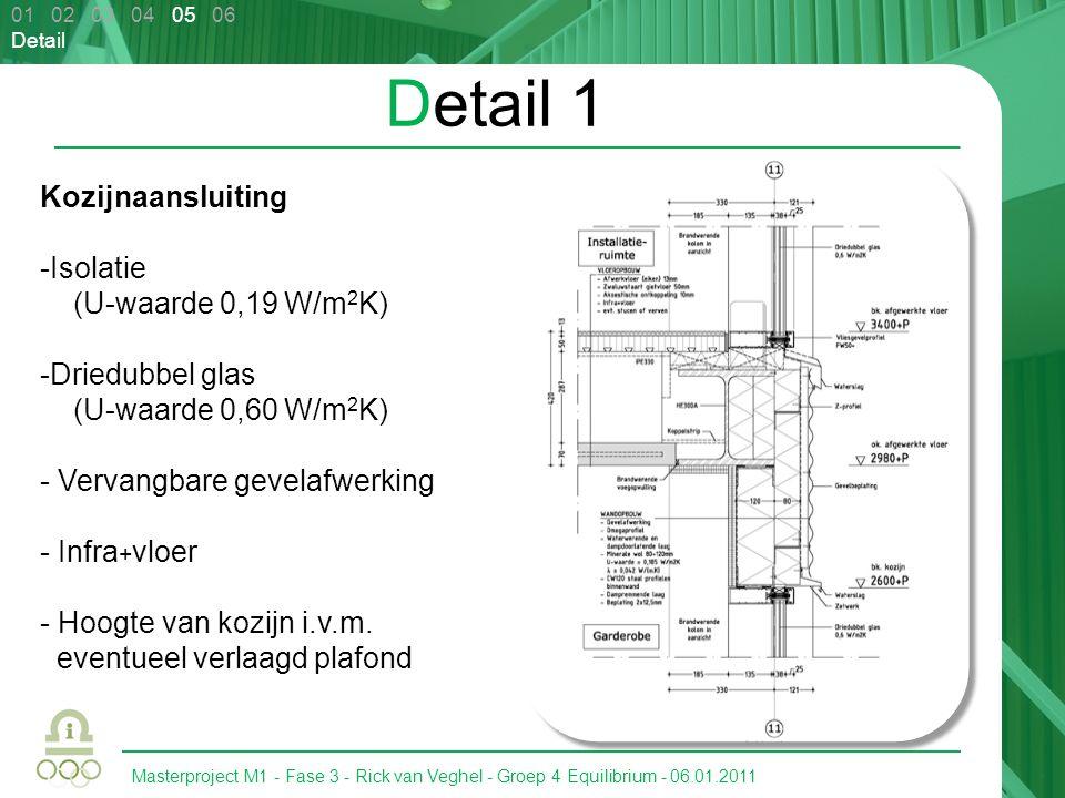 Masterproject M1 - Fase 3 - Rick van Veghel - Groep 4 Equilibrium - 06.01.2011 Detail 1 Kozijnaansluiting -Isolatie (U-waarde 0,19 W/m 2 K) -Driedubbel glas (U-waarde 0,60 W/m 2 K) - Vervangbare gevelafwerking - Infra + vloer - Hoogte van kozijn i.v.m.
