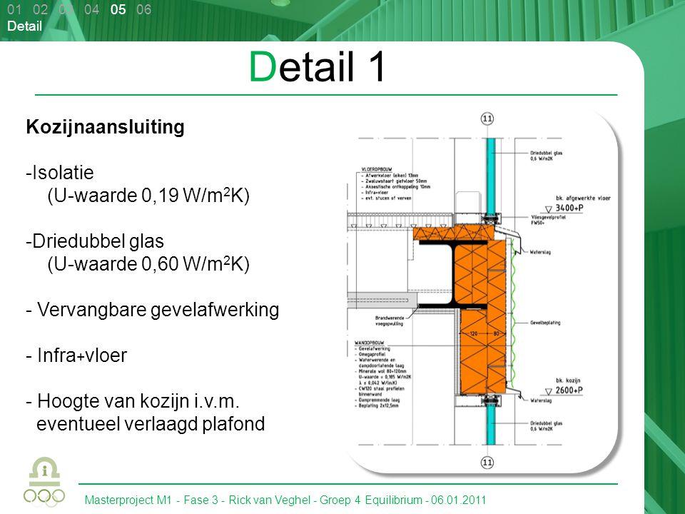 Masterproject M1 - Fase 3 - Rick van Veghel - Groep 4 Equilibrium - 06.01.2011 Detail 1 Kozijnaansluiting -Isolatie (U-waarde 0,19 W/m 2 K) -Driedubbe