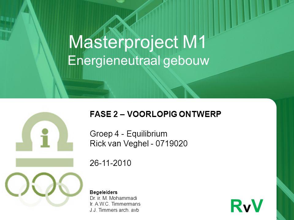 Masterproject M1 Energieneutraal gebouw RvVRvV FASE 2 – VOORLOPIG ONTWERP Groep 4 - Equilibrium Rick van Veghel - 0719020 26-11-2010 Begeleiders Dr. i