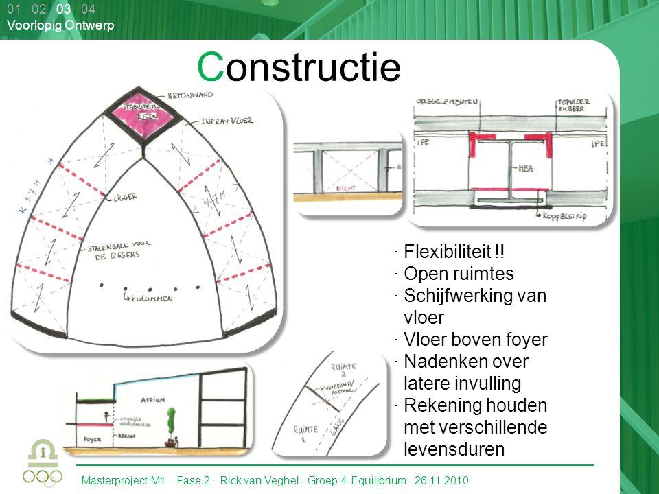 Masterproject M1 - Fase 2 - Rick van Veghel - Groep 4 Equilibrium - 26.11.2010 01 02 03 04 Voorlopig Ontwerp Constructie · Flexibiliteit !! · Open rui