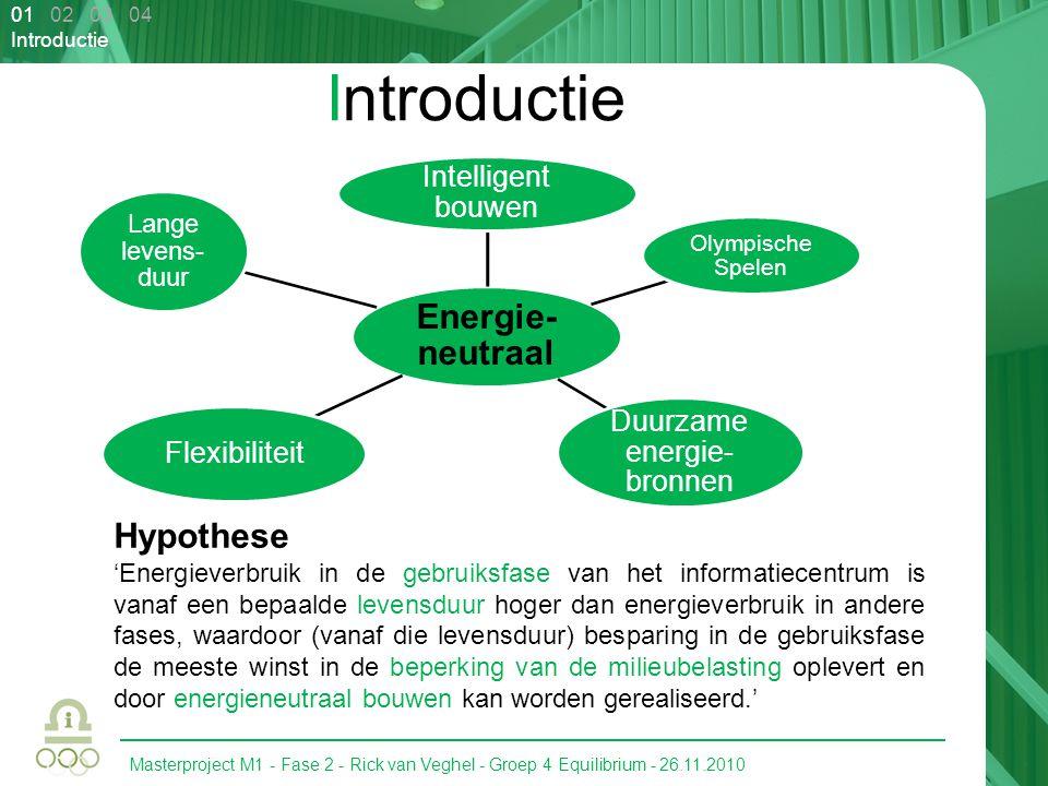 Masterproject M1 - Fase 2 - Rick van Veghel - Groep 4 Equilibrium - 26.11.2010 01 02 03 04 Introductie Energie- neutraal Intelligent bouwen Olympische