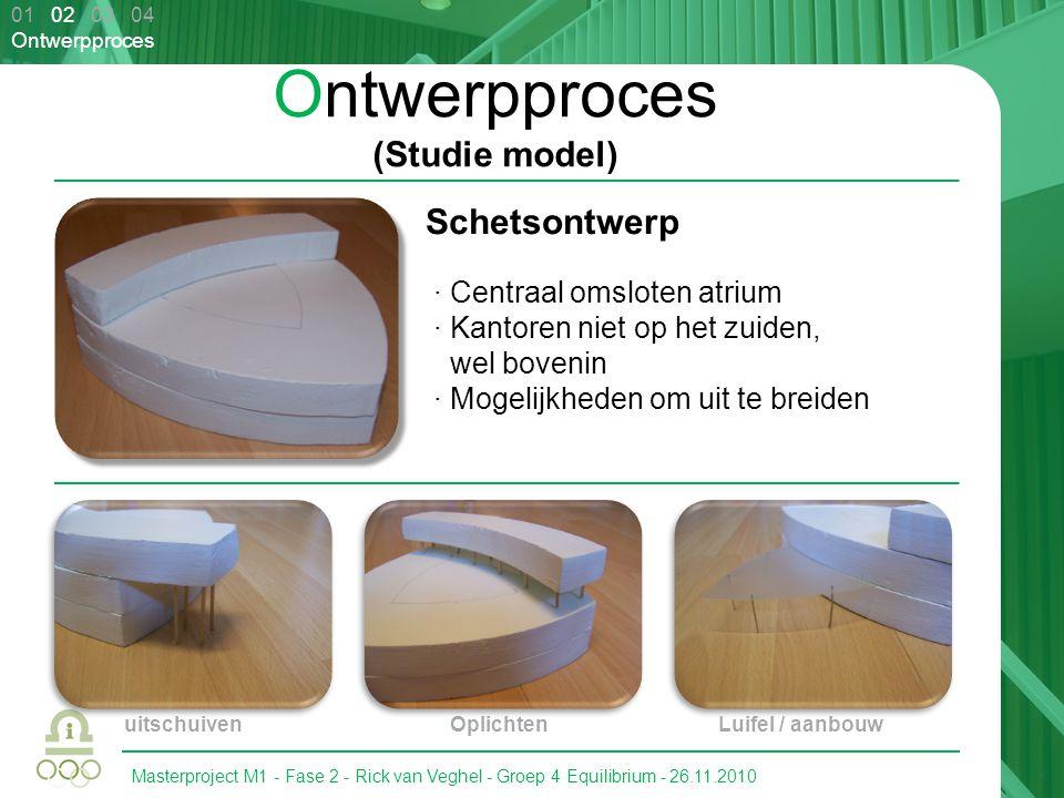Masterproject M1 - Fase 2 - Rick van Veghel - Groep 4 Equilibrium - 26.11.2010 01 02 03 04 Ontwerpproces Ontwerpproces (Grootste verandering) 2 de verdieping · PV-Panelen integreren · Vanaf de 2 de verdieping naar beneden kijken · Warmte kan gemakkelijk hergebruikt worden · Één geheel/lijn · Bewustwording in atriumdak verwerken · Liftschacht · Kortere loopafstand · Maximale rendement is alsnog 95% onder 10°