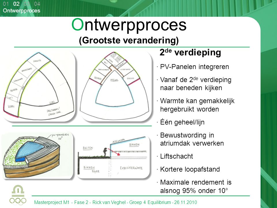Masterproject M1 - Fase 2 - Rick van Veghel - Groep 4 Equilibrium - 26.11.2010 01 02 03 04 Voorlopig Ontwerp Locatie · Route (bewustwording) · Oriëntatie · Water gebruiken om te koelen