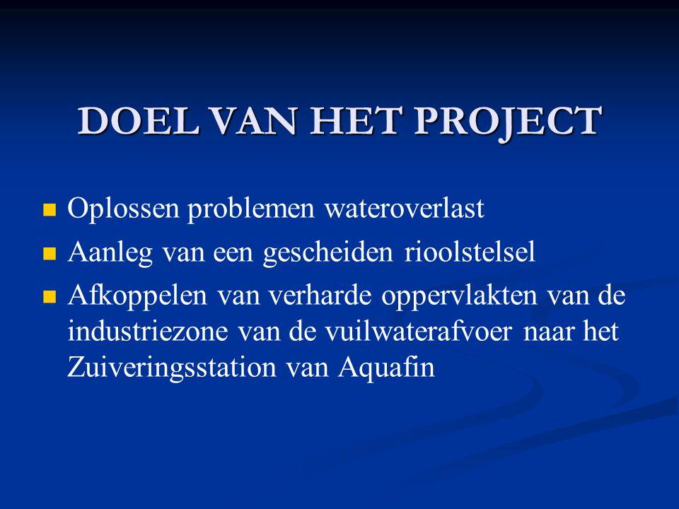 DOEL VAN HET PROJECT Oplossen problemen wateroverlast Aanleg van een gescheiden rioolstelsel Afkoppelen van verharde oppervlakten van de industriezone van de vuilwaterafvoer naar het Zuiveringsstation van Aquafin