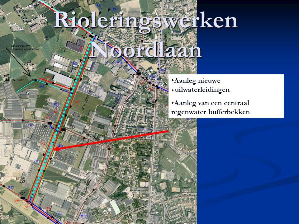 Rioleringswerken Noordlaan Aanleg nieuwe vuilwaterleidingen Aanleg van een centraal regenwater bufferbekken