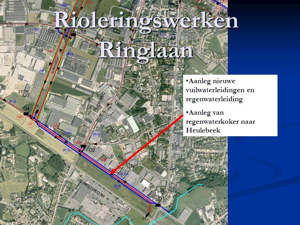 Rioleringswerken Ringlaan Aanleg nieuwe vuilwaterleidingen en regenwaterleiding Aanleg van regenwaterkoker naar Heulebeek