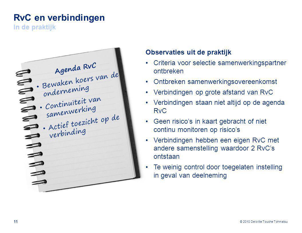 © 2010 Deloitte Touche Tohmatsu RvC en verbindingen In de praktijk 11 Observaties uit de praktijk Criteria voor selectie samenwerkingspartner ontbreke
