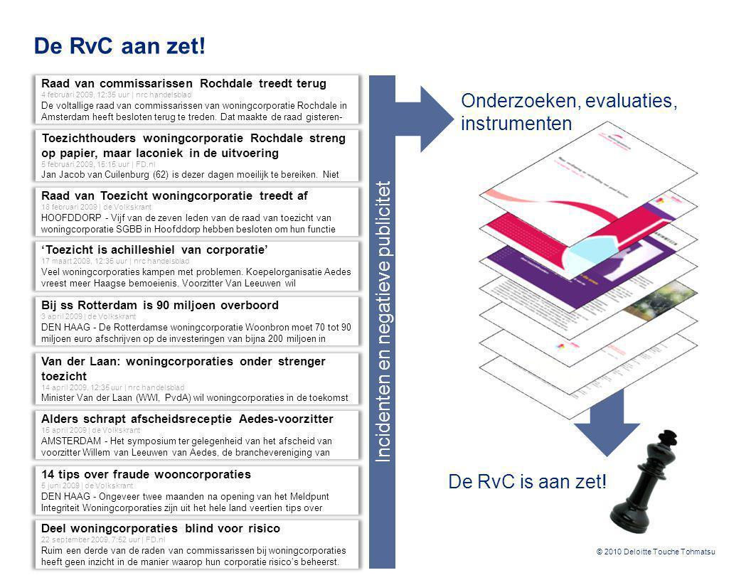 © 2010 Deloitte Touche Tohmatsu De RvC aan zet! Raad van Toezicht woningcorporatie treedt af 18 februari 2009 | de Volkskrant HOOFDDORP - Vijf van de