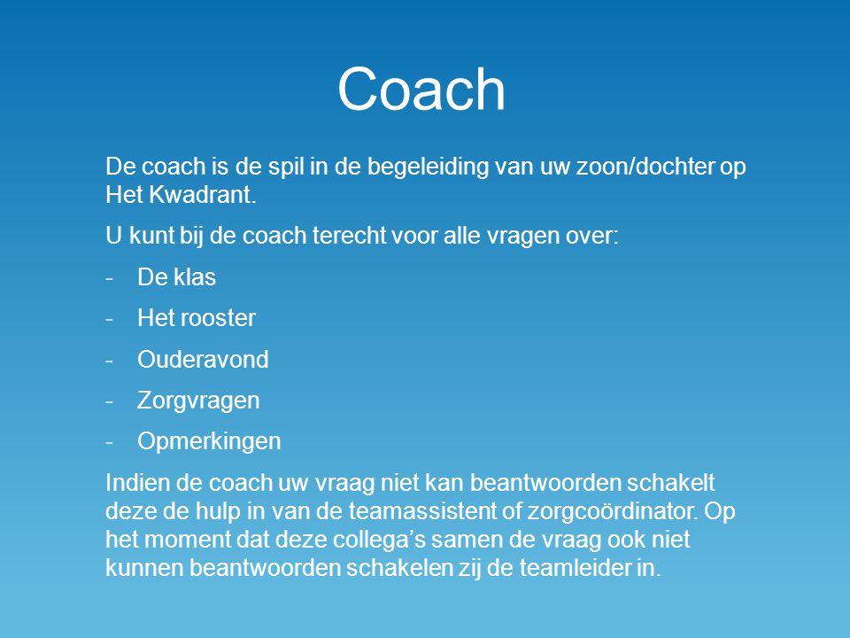 Coach De coach is de spil in de begeleiding van uw zoon/dochter op Het Kwadrant. U kunt bij de coach terecht voor alle vragen over: -De klas -Het roos