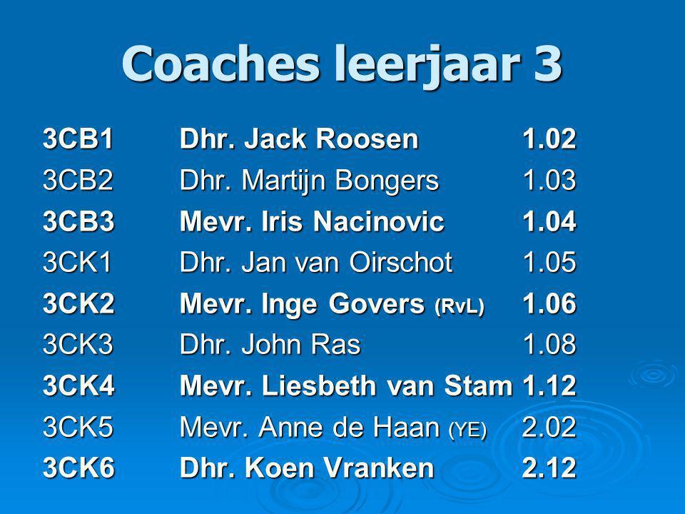 Coaches leerjaar 3 3CB1 Dhr. Jack Roosen1.02 3CB2Dhr.