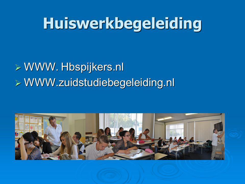 Huiswerkbegeleiding  WWW. Hbspijkers.nl  WWW.zuidstudiebegeleiding.nl