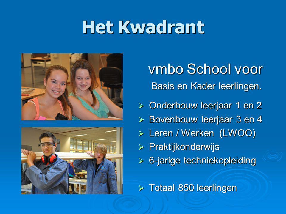 Organisatie Bovenbouw Dhr.Jan Mueters:Directeur Het Kwadrant Mevr.