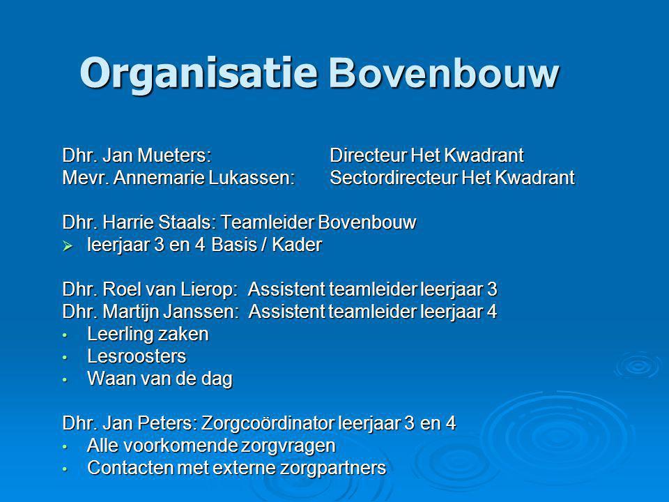 Organisatie Bovenbouw Dhr. Jan Mueters:Directeur Het Kwadrant Mevr.