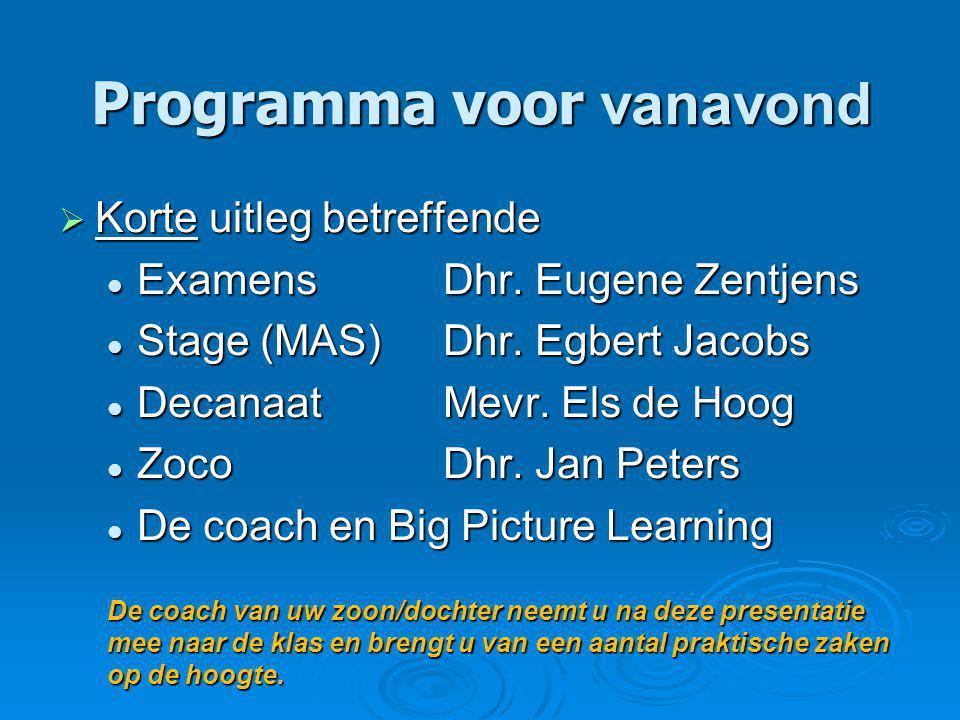 Programma voor vanavond  Korte uitleg betreffende Examens Dhr.