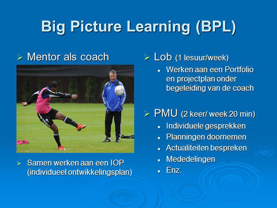 Big Picture Learning (BPL)  Mentor als coach  Samen werken aan een IOP (individueel ontwikkelingsplan)  Lob (1 lesuur/week) Werken aan een Portfolio en projectplan onder begeleiding van de coach  PMU (2 keer/ week 20 min) Individuele gesprekken Planningen doornemen Actualiteiten bespreken Mededelingen Enz.