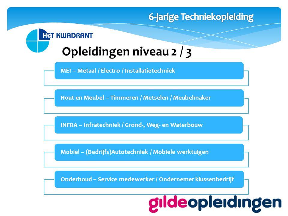 Opleidingen niveau 2 / 3 MEI – Metaal / Electro / InstallatietechniekHout en Meubel – Timmeren / Metselen / MeubelmakerINFRA – Infratechniek / Grond-, Weg- en WaterbouwMobiel – (Bedrijfs)Autotechniek / Mobiele werktuigenOnderhoud – Service medewerker / Ondernemer klussenbedrijf