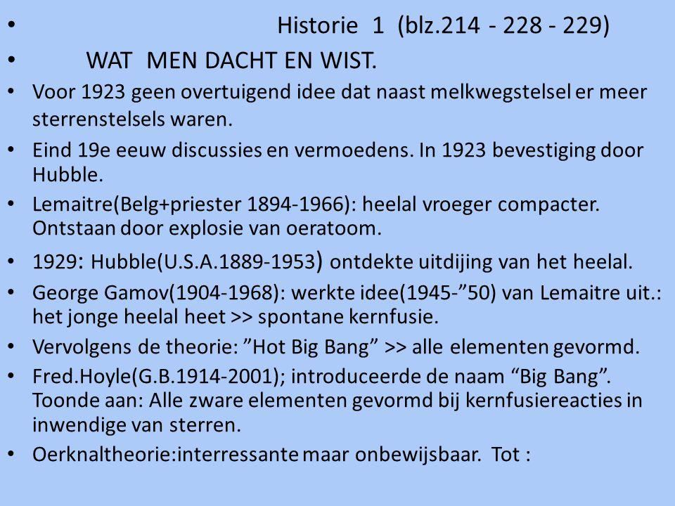 Historie 1 (blz.214 - 228 - 229) WAT MEN DACHT EN WIST. Voor 1923 geen overtuigend idee dat naast melkwegstelsel er meer sterrenstelsels waren. Eind 1