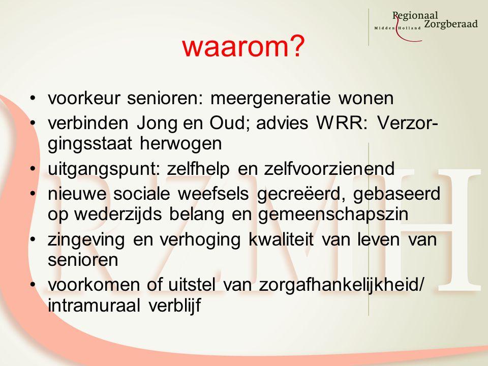 waarom? voorkeur senioren: meergeneratie wonen verbinden Jong en Oud; advies WRR: Verzor- gingsstaat herwogen uitgangspunt: zelfhelp en zelfvoorzienen