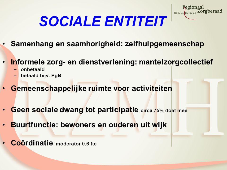 SOCIALE ENTITEIT Samenhang en saamhorigheid: zelfhulpgemeenschap Informele zorg- en dienstverlening: mantelzorgcollectief –onbetaald –betaald bijv. Pg