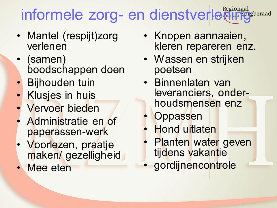 informele zorg- en dienstverlening Mantel (respijt)zorg verlenen (samen) boodschappen doen Bijhouden tuin Klusjes in huis Vervoer bieden Administratie
