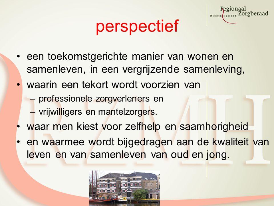 perspectief een toekomstgerichte manier van wonen en samenleven, in een vergrijzende samenleving, waarin een tekort wordt voorzien van –professionele